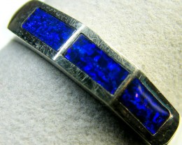 INLAY OPAL 18K WHITE GOLD RING SIZE 8 SCA1821