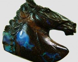 121.4 CTS BOULDER OPAL HORSE CARVING   [BMA1365]
