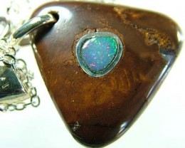 OPAL INLAY PENDANT/SLIVER CHAIN-26 CTS  [BMP1463 ]