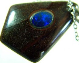 OPAL INLAY PENDANT/SLIVER CHAIN-25 CTS  [BMP1476 ]