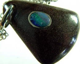 OPAL INLAY PENDANT/SLIVER CHAIN-23 CTS  [BMP1481 ]