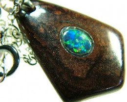 OPAL INLAY PENDANT/SLIVER CHAIN-18 CTS  [BMP1491 ]