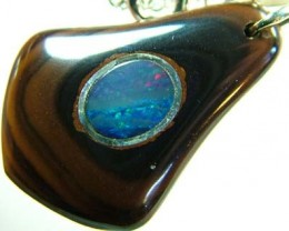 OPAL INLAY PENDANT/SLIVER CHAIN-27 CTS  [BMP1499 ]