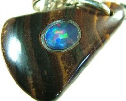 OPAL INLAY PENDANT/SLIVER CHAIN-22 CTS  [BMP1503 ]