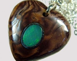 OPAL INLAY PENDANT/SLIVER CHAIN-23 CTS  [BMP1505 ]