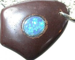 OPAL INLAY PENDANT/SLIVER CHAIN-21 CTS  [BMP1522 ]