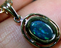 GREEN FLASH BLACK OPAL 14K GOLD PENDANT 1CT  MY 599