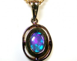 DEEP BLUES FLASH  OPAL 14K GOLD PENDANT 1 CT MY 600