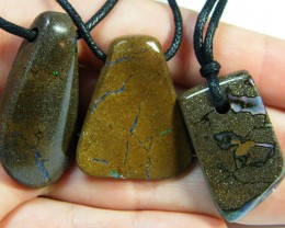 THREE (3)NATURAL PENDANTS SOURCED KOROIT    OM 1539