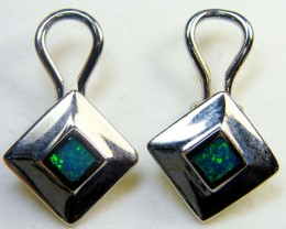 GREEN FIRE SHIMMER OPAL INLAY EARRINGS 18KWHITE GOLD SCA1911