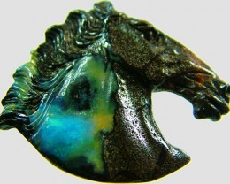 41 CTS BOULDER HORSE CARVINGS-HIGHLY POLISHED [BMA1412]