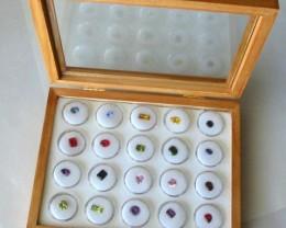 Pine, Opal & Gemstone Display Case with 20 Gem Jars (PGL-20