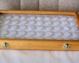 Oak, Opal & Gemstone Display Case with 50 Gem Jars (JGl-50