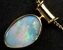 COOBER PEDY SHELL OPAL PENDANT 18K GOLD 5 CTS SCA1928