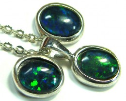 LARGE 8X6MM  TRIPLET SET PENDANT AND EARRINGS  SCA1958