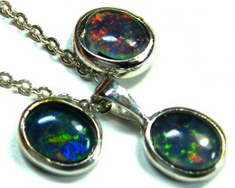 LARGE 8X6MM  TRIPLET SET PENDANT AND EARRINGS  SCA1961