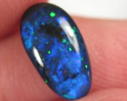 # 1.85 CTS BEAUTIFUL BLACK OPAL CABOCHON STONE DEEP BLUE WITH PINFIRE GREEN