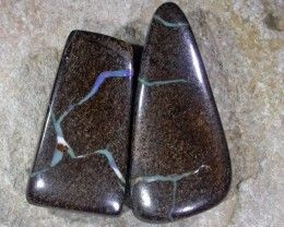 PAIR BOULDER OPAL COLOUR FLASH VEINS  GR586