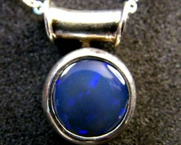 BLACK OPAL BLUE  OPAL   18K WHITE  GOLD  PENDANT   SCA 2078
