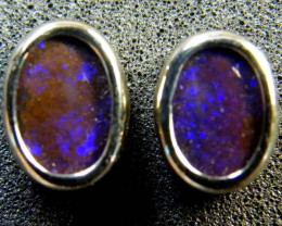 BOULDER OPAL 18K WHITE GOLD EARRINGS 2.10 CTS  SCA 2139
