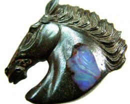 124 CTS BOULDER  OPAL HORSE HEAD CARVING  [BMA1505]