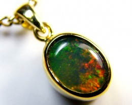 RED FLASH ENHANCED INLAY OPAL 18K GOLD PENDANT 1.1 CT MY 925