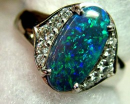 AAA BLACK OPAL L RIDGE GEM GRADE PLATINUM RING 54 CTS KR-9