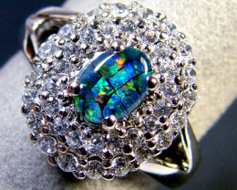 MOSAIC TRIPLET OPAL SILVER RING SIZE 8.5 SCA 2220