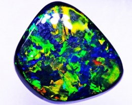 Spectacular Solid Black Opal  Lightning Ridge 3.25cts (cg12)