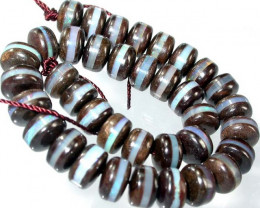 BOULDER  BEAD INLAYED WITH BLUE CRYSTAL- 119 CTS [BMA1491 ]