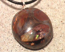 'INTERESTING' CONGLOMERATE KOROIT SOLID BOULDER OPAL PENDANT