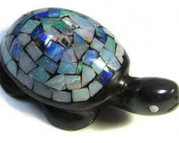 LUCKY INLAID OPAL TURTLE CARVING   302  CARATS  JO591