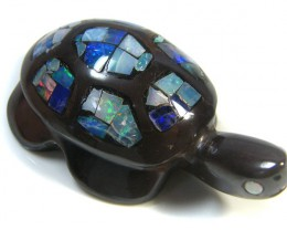 LUCKY INLAID OPAL TURTLE CARVING    160 CARATS  JO 598
