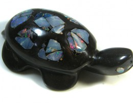 LUCKY INLAID OPAL TURTLE CARVING    163 CARATS  JO 604