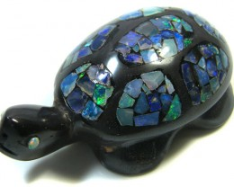 LUCKY INLAID OPAL TURTLE CARVING    265 CARATS  JO 607