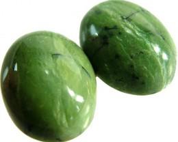 GREEN OPALITE PAIR NATURAL 'CATS EYE'' 18.9 CTS [VS1192 ]
