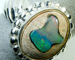 OPAL INLAY SILVER RING SIZE 9.5 SCA 2310