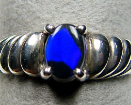 ELECTRIC BLUE FIRE  BLACK SILVER RING SIZE 6.5  SCA 2362