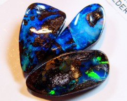 PARCEL 3 GREEN FLASH  QUILPIE BOULDER OPAL   20   CTS MM 587