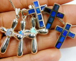 TRADE  DEAL SIX SILVER CROSS  PENDANTS  SCA 2475