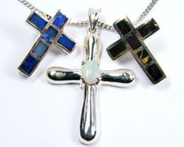 TRADE  DEAL THREE SILVER CROSS  PENDANTS  SCA 2476