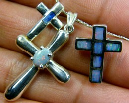 TRADE  DEAL THREE SILVER CROSS  PENDANTS  SCA 2479