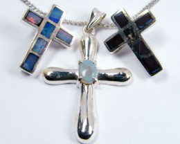 TRADE  DEAL THREE SILVER CROSS  PENDANTS  SCA 2483