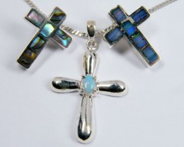 TRADE  DEAL THREE SILVER CROSS  PENDANTS  SCA 2485