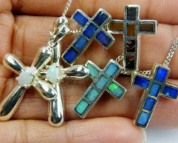 TRADE  DEAL SIX  SILVER CROSS  PENDANTS  SCA 2488