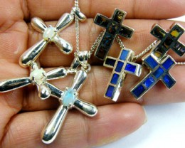 TRADE  DEAL SEVEN SILVER CROSS  PENDANTS  SCA 2489
