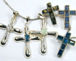 TRADE  DEAL SIX SILVER CROSS  PENDANTS  SCA 2492