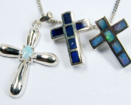 TRADE  DEAL THREE SILVER CROSS  PENDANTS  SCA 2490