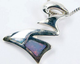 STYLISH INLAY SILVER   OPAL  PENDANT SCA 2509