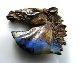 HAND CARVED HORSE  HEAD  BOULDER OPAL  MM 850